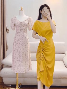 Đầm vàng body lệch vai xếp ly eo giá sỉ rẻ
