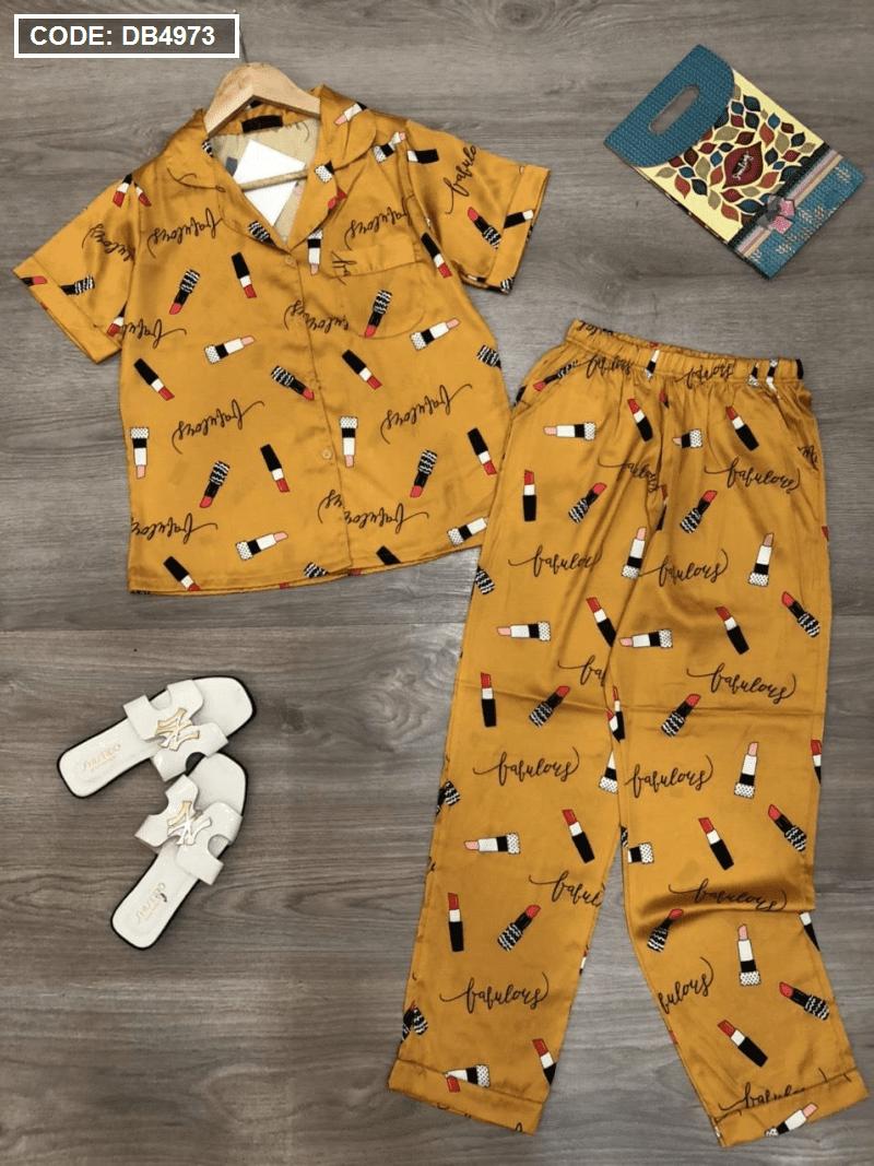 Set đồ bộ Pijama quần dài tay ngắn viền bèo