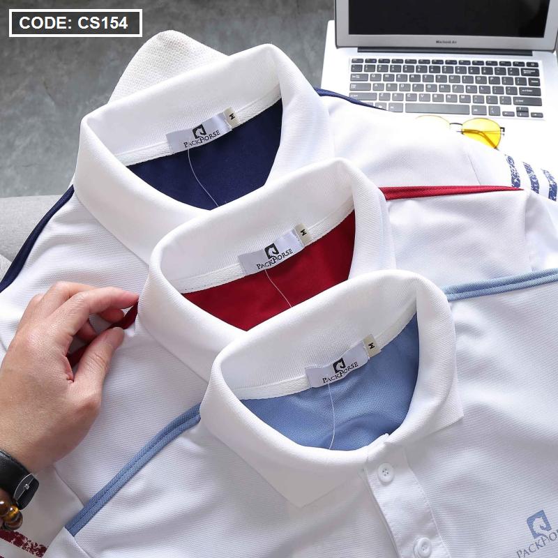 Áo thun nam Polo in sọc màu cao cấp - CS154